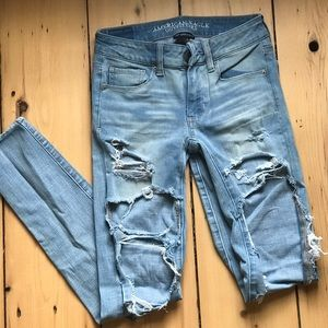 American eagle jeggings with large rips